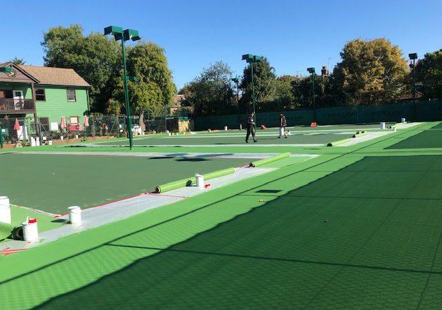 Hartswood - Block of three hard surface tennis courts transformed